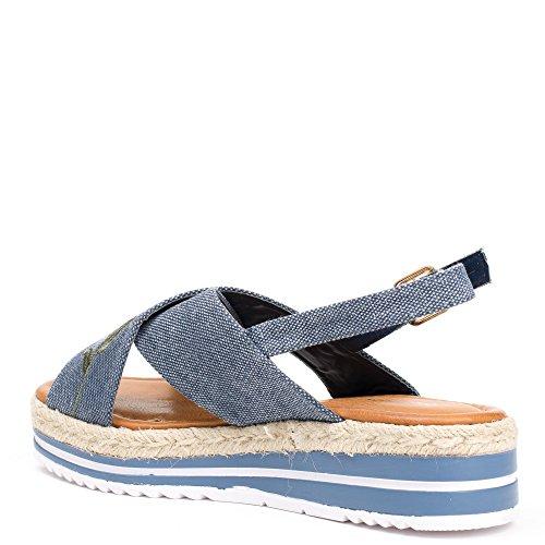Ideal Shoes Sandales Effet Daim avec Rose Brodée Enara Bleu