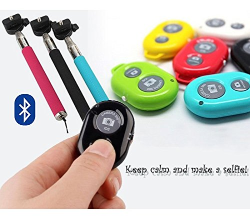 MEDIA WAVE store Kit per selfie con asta regolabile e telecomando bluetooth a portachiavi remote shutter per autoscatti foto
