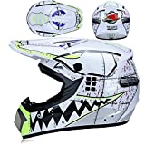 MRDEER Shark Style Casque Motocross Adulte Casque Off-Road Kit (4 PCS) avec Lunettes...