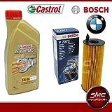 SMC 6-Liter-Motor Öl Castrol EDGE 5W30 + Ölfilter BOSCH BMW 320D (E90-E91) BMW 118D (E81-E87)