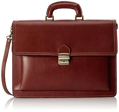 CTM Herren Organizer-Tasche, 41x31x18cm, 100% echtes Leder Made in Italy Braun (Marrone)