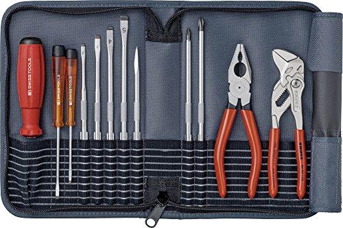 PB Swiss Tools Werkzeug-Set 12-tlg. Inkl. Rolltasche, Schraubendreher, Knipex Zangen, 100% Swiss Made, Lebenslange Garantie, Grau
