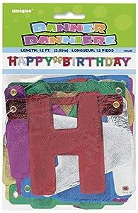 """Unique Party Guirnalda de letras de cumpleaños""""Happy Birthday"""", Multicolor, 140 cm 90300"""