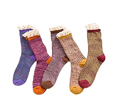 Deal Of The Week Santwo Color Block Warm Wool Blend Knited Lace Trim Hold-up Boot Crew Socks Winter Leg Warmer 5 Pairs