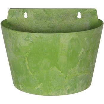 Artstone Pflanzgefäß Wandtopf Claire, frostbeständig und leichtgewichtig, Limegrün, 24x16x18cm