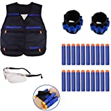 Nerf War Tactical Rifle Stock Dart Equipment Set pour Nerf N-strike Elite Series Blasters Toy Gun (2 Wrister + 1 Veste Tactique Veste + 1 Lunettes de protection Lunettes + 20pcs Blue Foam Darts)