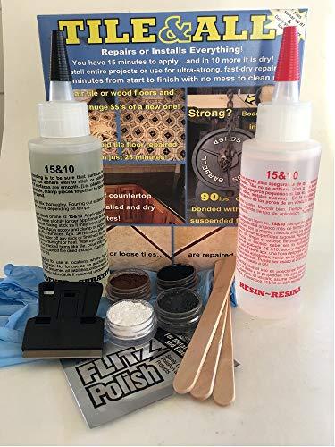 Tile & ALL 8 Unzen COMPLETE KIT (fließfähige Version von Instant Install 29) Perfect DIY Größe entwickelt, um Haar cracks.4 Colorants eindringen, Rasierer, Curing-Streifen, Handschuhe, Mix-Sticks