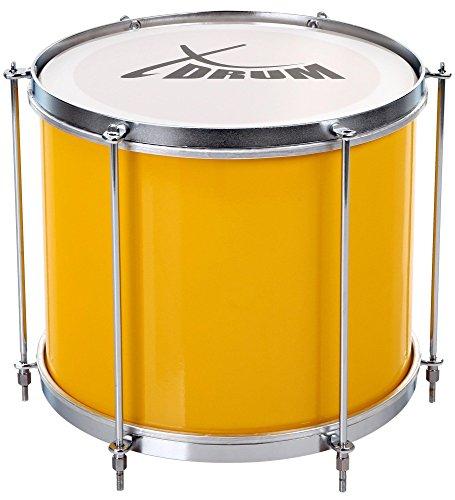 """XDrum SSD-1210 Surdo Samba Trommel, brasilianische Basstrommel 12\"""" x 10\"""" (3 kg, Aluminium, 6 Spannstangen) gelb-silber"""