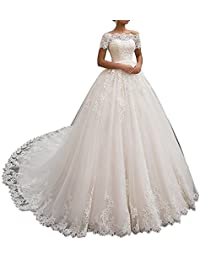 04f461c6c03 HotGirls Robes de mariée Princesse Dentelle Tulle A-Ligne Robes de mariée  Longues