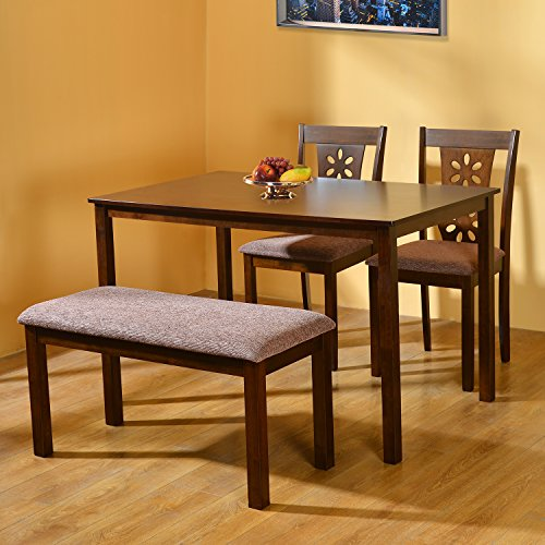 @home by Nilkamal FIDSSUTLEJKIT3CBAC Four Seater Dining Table Set (Beige)  available at amazon for Rs.16695