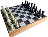 Fasherati 11.75' Handcarved Chess Board with Wooden Base but Stone Inlaid Work - Chess Game Board Set with Handcrafted Natural Stone Piece