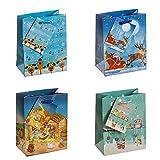 TSI Geschenktüten Weihnachtserie Kinder, 12-er Packung, Klein 4-fach, sortiert