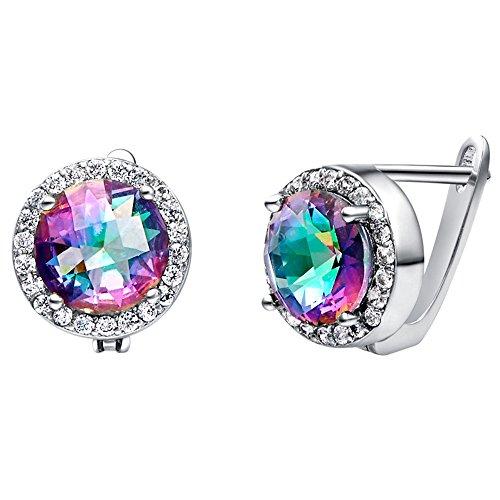 Nykkola Modeschmuck-Ohrringe, versilbert mit 925Sterlingsilber und mit bunten Kristallen, ein tolles Geschenk für Frauen
