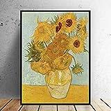 Cuadro de pared pintura al óleo mundial Vincent Van Gogh florero con doce girasoles impresionista famoso pintor imprimir pintura mural A 60 * 80cm