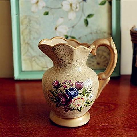 Gsch vintage Vase en porcelaine 16,5cm peinte à la main Pivoine poterie Vase