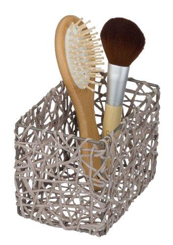 Wenko Curly - Cesta para el baño y el hogar de celulosa, 15 x 11 x 10.5 cm, color gris pardo