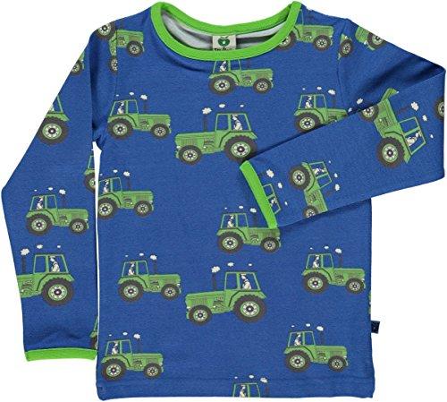 Smafolk Jungen Langarm-Shirt blau mit Traktoren Größe 104/110