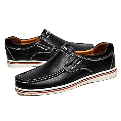 Minitoo Boys Mens Round Toe Stitched Comfortable Office Loafers Black