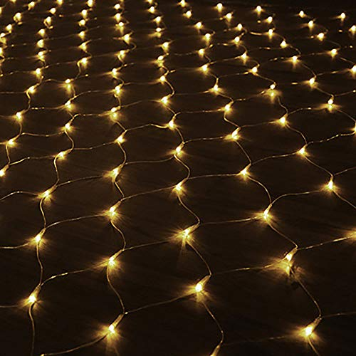 LED Lichternetz Lichtervorhang 1.5 * 1.5 Meter für Weihnachten Deko Party Festen, Innen und Außen, Weihnachten Hochzeit mit Stecker IP44 Warmweiß