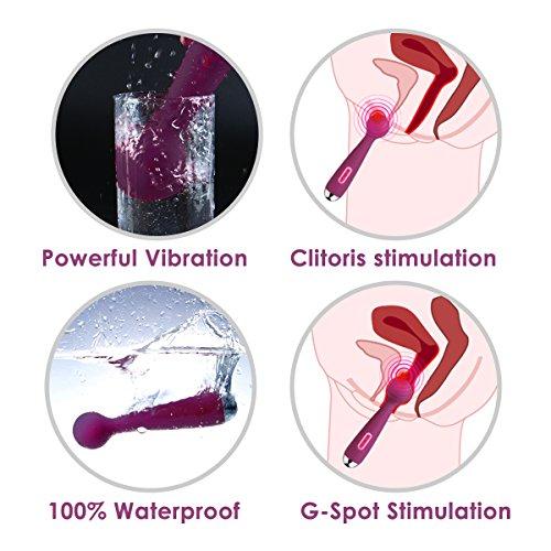 Silikon Dildo Klitoris Vibrator Kraftvoller Stimulator Akkubetrieb ZEMALIA Pippa für sie, G Punkt Vibrator mit 7 Vibrationsmodi,Biegbares Weich Silikon,Wasserdicht sexspielzeug für sie,Lila - 3