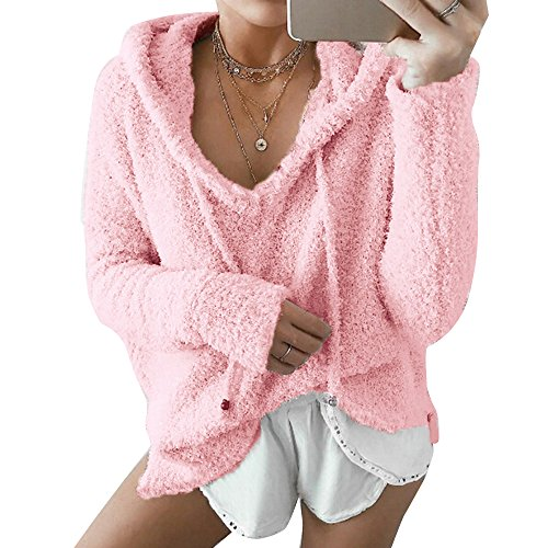 Dihope Femme Printemps Automne Sweat à Capuche Sweater Casual Hoodie Sweat-shirt Polaire Top Manches Longues Veste Rose