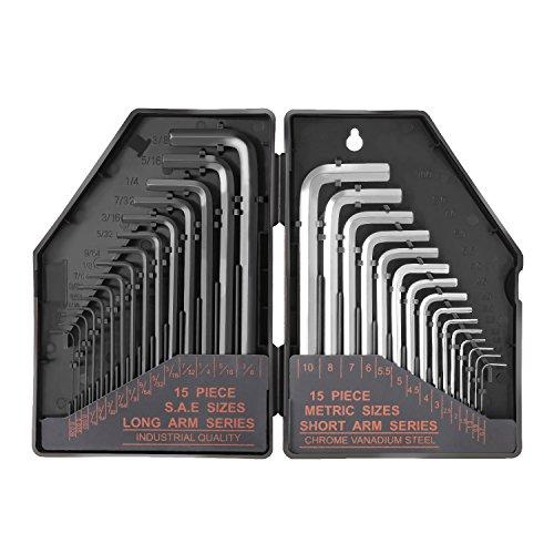 TACKLIFE Innensechskantschlüssel 30Pcs, Winkelschlüsselsatz, 15 Kurzarm(Metrisch): 0,7-10 mm, 15 Langarm (Zoll) : 0,028-3/8; präzise Größenmarkierung im Kunststoffkoffer-HHW1A