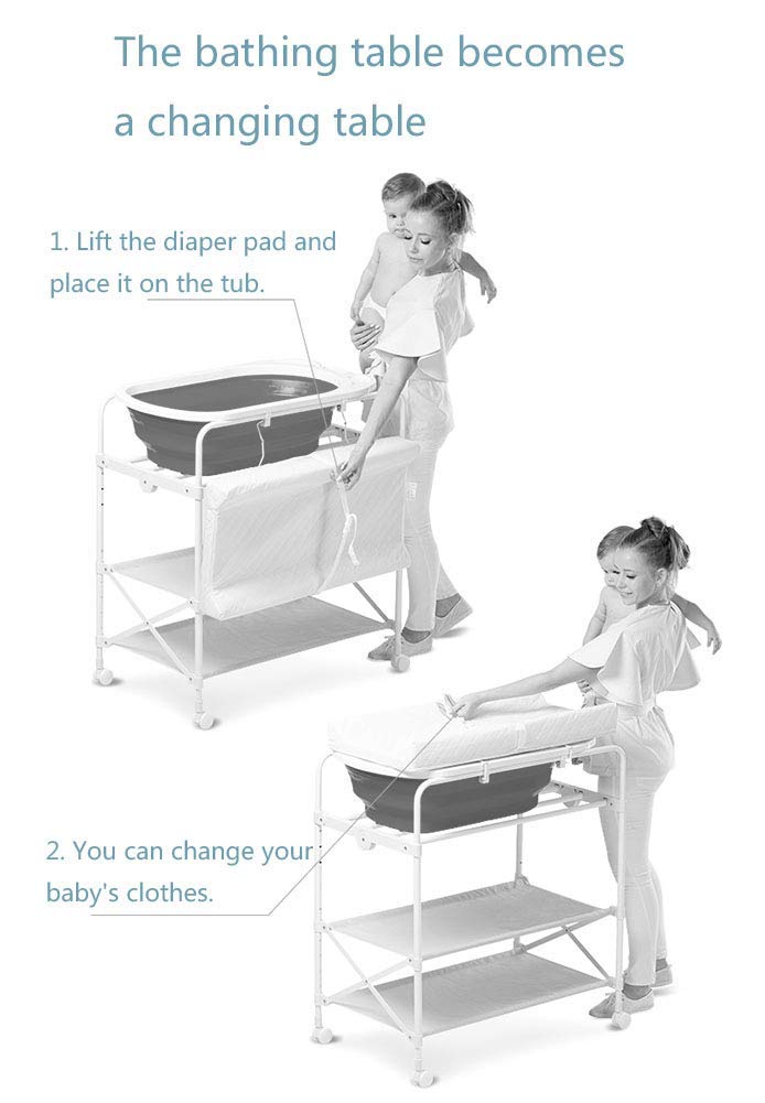 Pink Baby Diaper Station/Table Foldable for Infant, Newborn Changing Clothes Multifunction Bath Dresser with Bathtub GUYUE Two in one design- Baby changing table can be used as baby massaging table as well or dry your baby's small clothes, also can bathing. Iron tube paint + plastic + polyester mesh. Size- As shown, 85x50x100~130cm Folding size- 85x24x112.5~132.5cm (1cm=0.39 inch) Suitable for babies 0~2 years old. 4