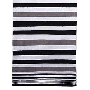 Tapis stripes noir blanc gris 70x200 cm coton ray moquette cuisine maison for Moquette anglais
