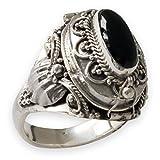 Fly Style Damen Gift-Ring Echt 925 Silber-Schmuck Onyx Optik Schwarz risi025 , Ring Grösse:18.4 mm