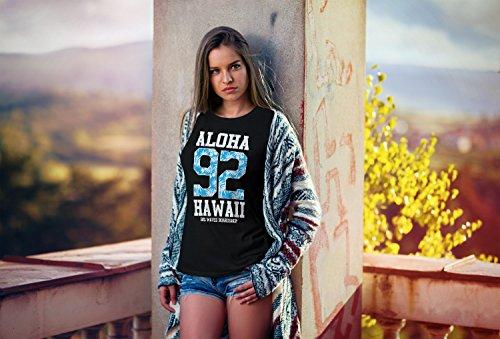 Neverless Damen T-Shirt Aloha Hawaii Summer Palm Leafs Slim Fit Schwarz