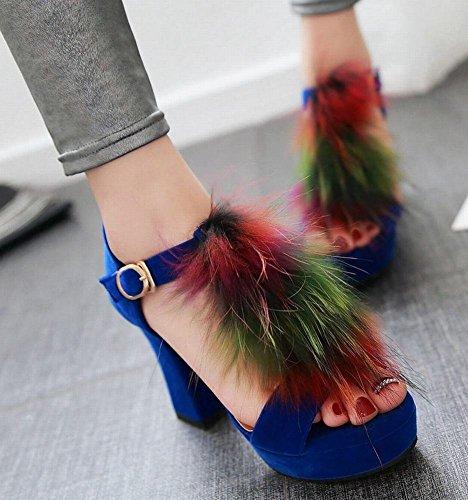 Mee Shoes Damen modern reizvoll Schnalle special Heel open toe t-strap Knöchelriemchen Nubukleder runde Sandalen Party-Schuhe Blau
