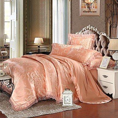 AIURLIFE Emerald Queen King tamaño cama lujo algodón de seda mezcla encaje edredón de profundidad , queen