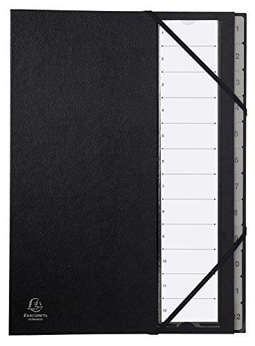 Exacompta 56012E Ordnungsmappe mit Festem Deckel, Gummizug und Dehnbarem Faltenrücken, 12 fächer mit Kunststofftaben 1-12 ordonator, format Din A4, schwarz