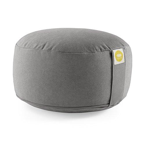 Lotuscrafts Meditationskissen / Yogakissen Lotus - Sitzhöhe: 15cm - Yoga Sitzkissen mit Dinkelfüllung (Dinkelspelz) - waschbarer Bezug aus Baumwolle (kbA) - GOTS zertifiziert