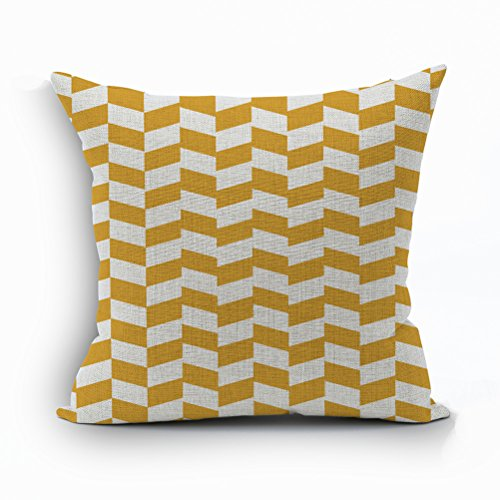 Nunubee Soft Cotton Linen Pillow Cover Bed Pillowcase Sofa Cushion Cover Square Pillowcase Yellow