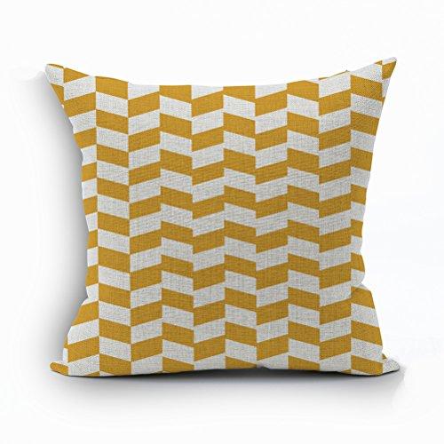 Nunubee Soft Cotton Linen Pillow Cover Bed Pillowcase Sofa Cushion Cover Square Pillowcase Yellow