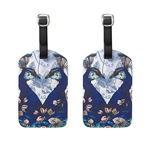 Kofferanhänger Butterfly Peacock Galaxy Illustration Genuine Leather Suitcase Labels Bag Travel Accessories - Set of 2 89tAGS2011 -
