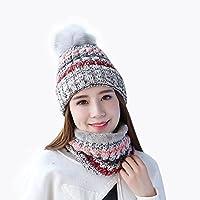 Sombrero y Bufanda Mujer Invierno,TININNA Caliente Gorras Con Scarf de Forro de Lana de Punto de Esquiar para Chicas 2 Piezas-Gris