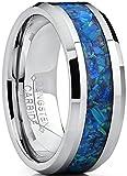 8MM Herren Wolframcarbid Ehering Mit Blau und Grun Opal, Bequemlichkeit Passen Größe 61