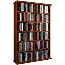 """VCM Torre para CD/DVD para """"Ronul"""" núcleo de nogal, 300 CDs, sin puerta de cristal."""