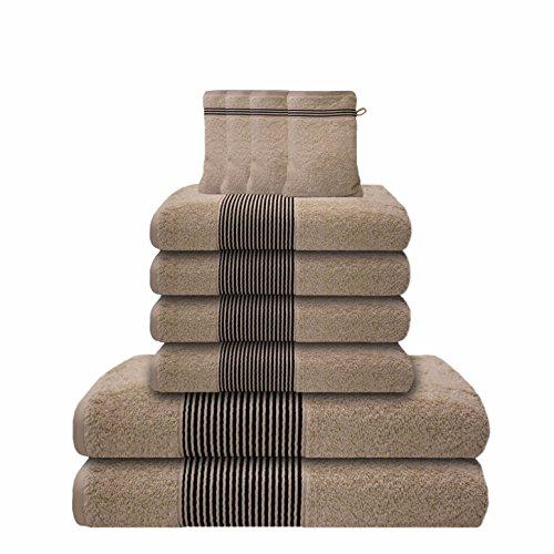 Liness-Stripes 10 tlg Frottier Handtuch-Set 4 Handtücher 50×100 cm 2 Duschtücher Badetücher 70×140 cm 4 Waschhandschuhe Waschlappen 16×21 cm 100% Baumwolle beige-creme