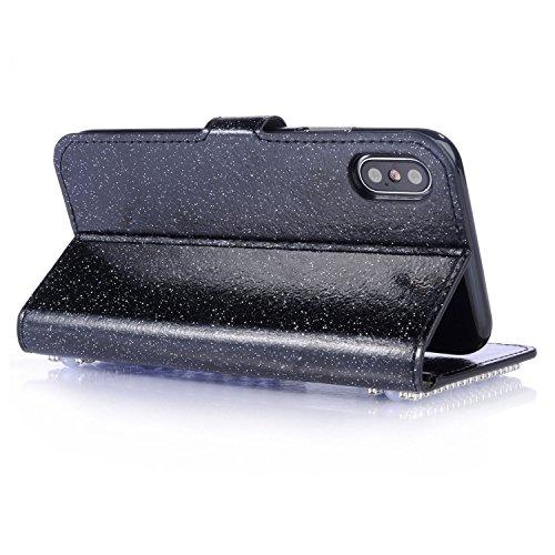 """iPhone X 5.8"""" Case étui Housse Ultra Slim étui Housse Cuir Coque avec Support Smart Cover Case Pochette Stand (PU Cuir,Ultra Mince Fin) iPhone X (5,8 pouces) Housse Case Premium Etui Portefeuille Wall Bling Noir"""