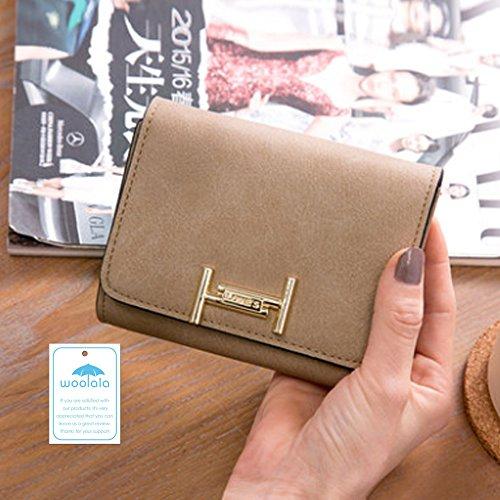 Woolala Donna Vintage Portafoglio Piccolo Portafoglio Portafoglio In Pelle Vegan Portafoglio Borsa Corta, Blu Profondo Mud color