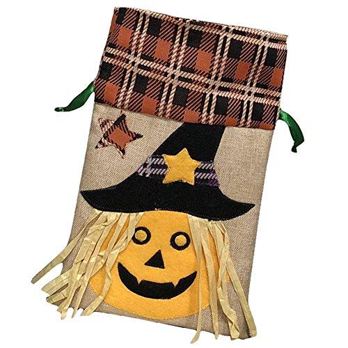 Chen0-super Halloween Kinder Festival Candy Tasche Dekoration Tasche The Ugly Hexe und der Schwarz Bär Kürbis Muster Kordelzug Tasche Party Performance Kleid bis Tasche a