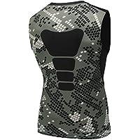 AMZSPORT Camiseta de compresión sin mangas para hombre Deportes de Secado Rápido Baselayer Funcionamiento Tirantes Camuflaje XL