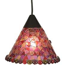 Näve 664001 - Lámpara de techo colgante con mosaico, Ø 19 cm, color rojo