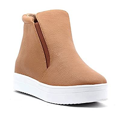 Shuberry Latest Footwear Collection, Comfortable & Fashionable Fabric, Tan Colour Faux Leather Sneakers for Women's & Girl's (SB-277)