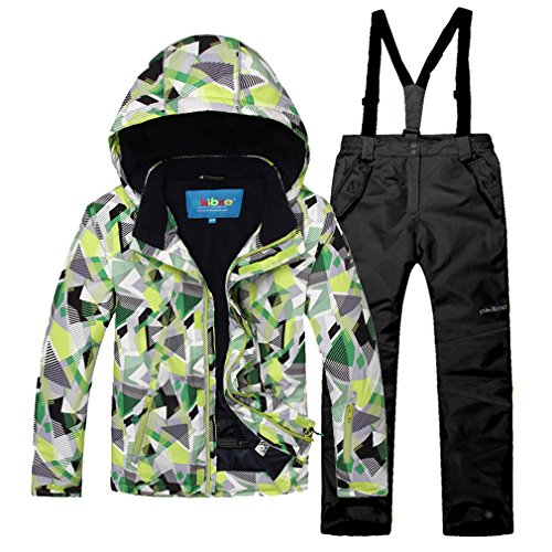 Emansmoer tuta da sci per bambini, antivento, imbottita e impermeabile, cotone, neu,mode,professional,wintersport,outdoor stil, (grün + schwarz)/8013, 6 anni