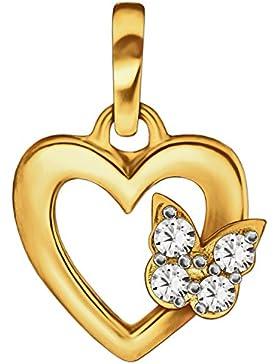 CLEVER SCHMUCK Goldener kleiner Anhänger Mini Herz 9 mm innen offen mit Schmetterling und weißen Zirkonias auf...