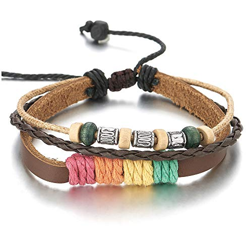 iMECTALII Herren Damen Stammes Multi-Strang Braun Leder Baumwolle Strap Wickeln Armband mit Wulst Charme, Bunte Baumwolle (Leder-wrap-armband Mit Charme)